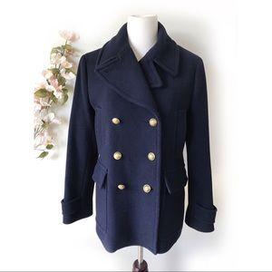 J. Crew Stadium Cloth Navy Wool Jacket Coat
